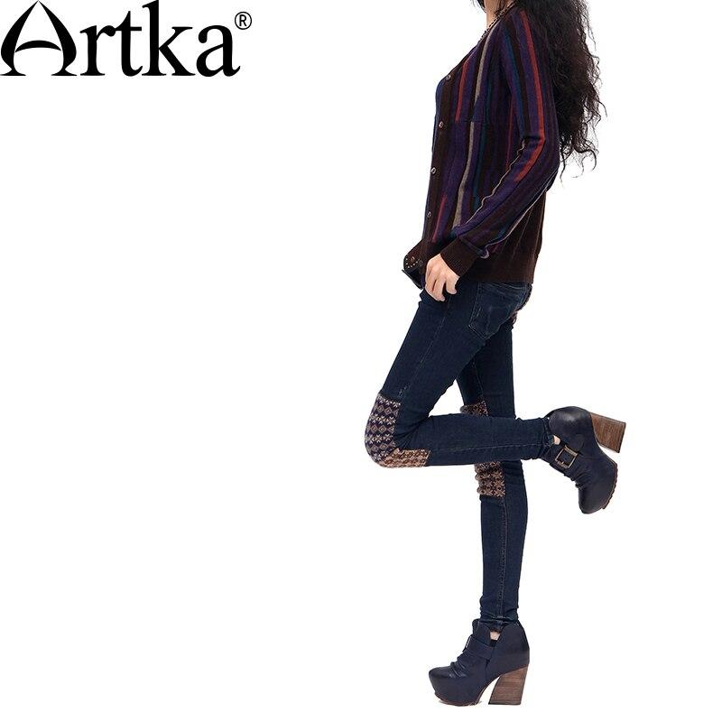 """ARTKA damska ołówek spodnie Skinny Jeans Patchwork kieszenie zamki, proszę kliknąć na przycisk """" skóra mocno ciepłe dzianiny zimowe elastyczne dżinsy KN16135D w Dżinsy od Odzież damska na  Grupa 2"""