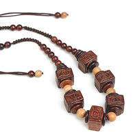 Antique Men's Necklaces Laos Rosewood Charms Animal Mask Pendant Choker Women Fashion Gift Boy Girls Fashion Wood Jewelry China