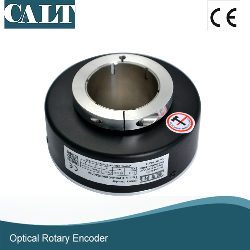 CALT DIY Through hole 40mm Hollow Shaft Encoder GHH90 Elevator Lift NPN OC Incremental Rotary Encoder Optical Sensor IP50 dhc40m6 500 pulse encoder incremental solid shaft rotary encoder sensor