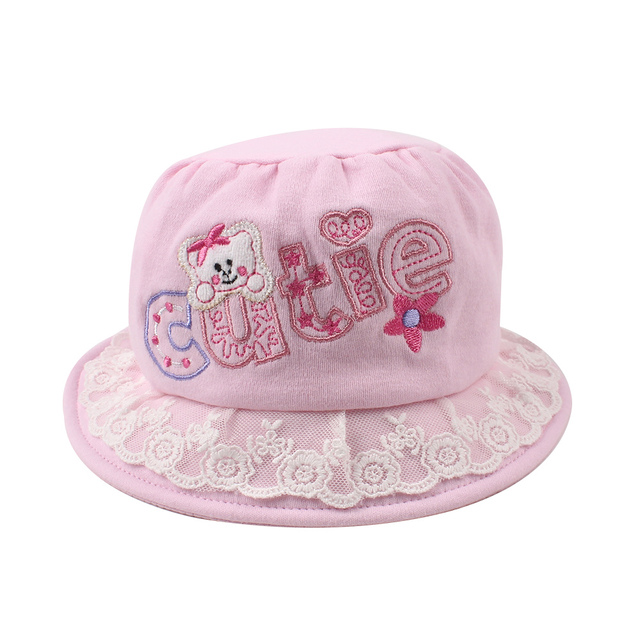 9b923bf088 Cute Lace Baby Bucket Hat Cotton Girls Bonnet Lace Sun Hats Girl Fisherman  Hats Flat Top Cap 6-12 Months Baby Girls Clothing