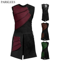 Mens Patchwork Bandage Split Long Waistcoat Vest 2019 Medieval Cosplay Punk Rock Style Vest Men Cosplay Steampunk Chaleco Hombre