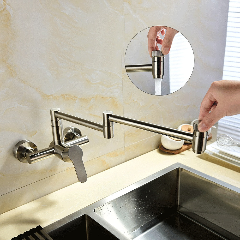 Free Shipping Brass Brushed Nickle Wall Mounted 360 Degree Rotating Folding Spout Kitchen Faucet Mixer Sink Tap Bathroom Balcony