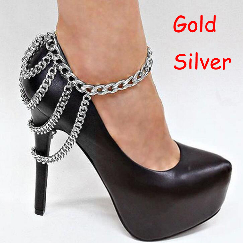 2Piece 2016 Sexy Shoes Chains Anklets Boots Heel Chain Punk Ankle Bracelets Multilayer Tassels Gold Foot Jewelry Girl Bracelet