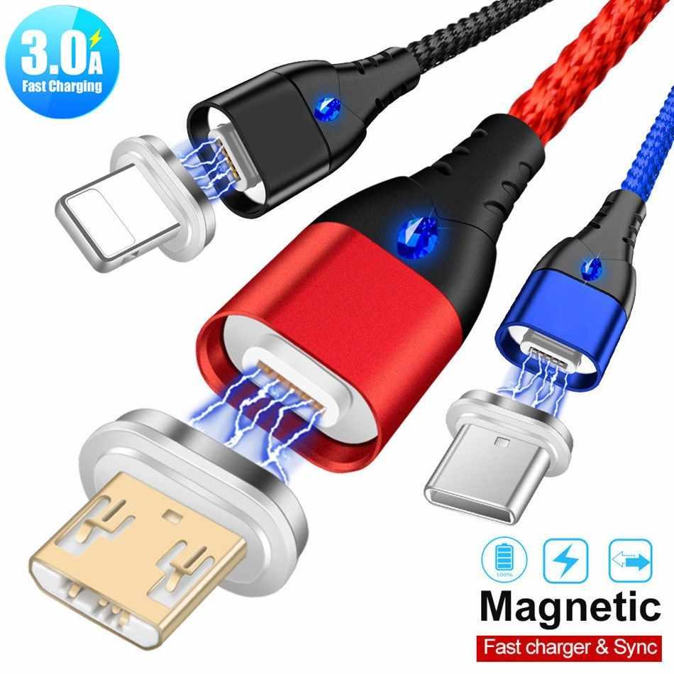 3A cargador magnético Cable Micro USB para iphone Xiaomi Huawei Android Teléfono Móvil de carga rápida imán Micro usb Cable de datos