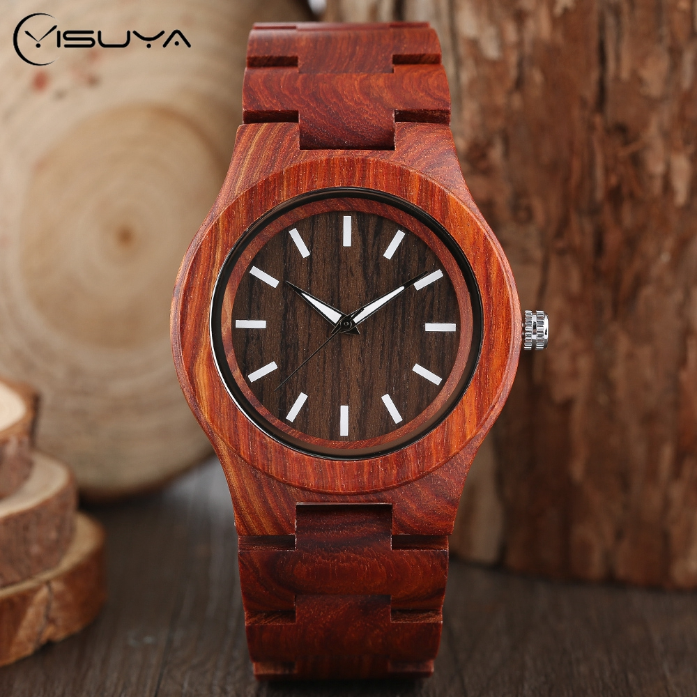 Men's Watches Full Wooden Quartz Wrist Watch Novel Nature Wood Bamboo Fold Clasp Band Strap Modern Creative reloj mujer