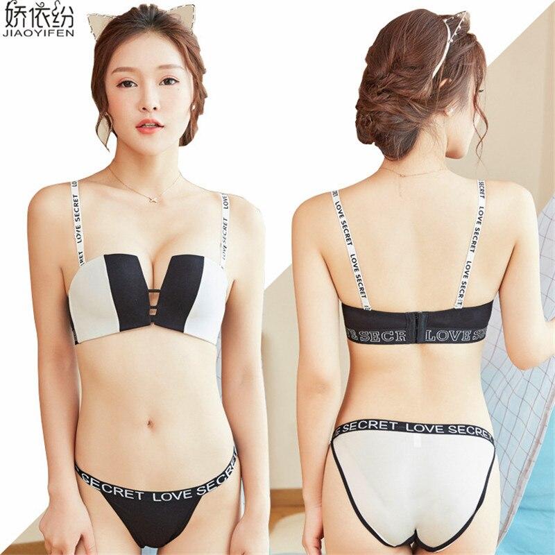 JYF 2017 Summer Hot Sale New Fashion Women Underwear Set Word Straps Celebrity Bra Set Seamless Super Push Up Bra Brief Sets