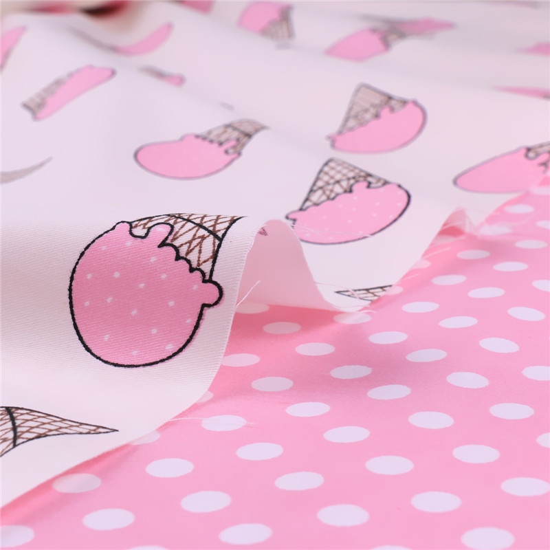 New Printed Pink Knitted Cotton Fabric Meter Half Ice Cream Baby Fabrics Cartoon Cloth Diy Tecidos A Metro Patchwork M10-160