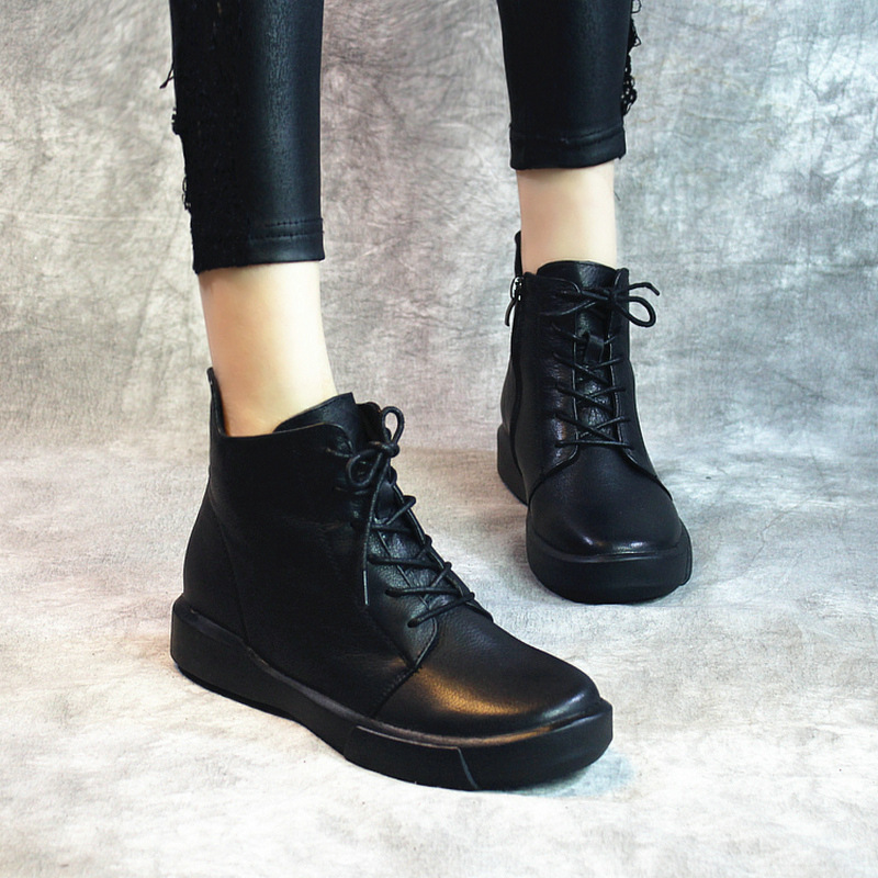 2017 Winter New Thick Heels Round Toe Fashion Lace Up Boots Genuine Leather Ankle Boots Handmade Martin Boots Black 1022 front lace up casual ankle boots autumn vintage brown new booties flat genuine leather suede shoes round toe fall female fashion