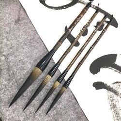 Super largo pelo de oso pluma de caligrafía cepillo de bambú Natural Penholder cursiva Regular guión coplas por Lian cepillos