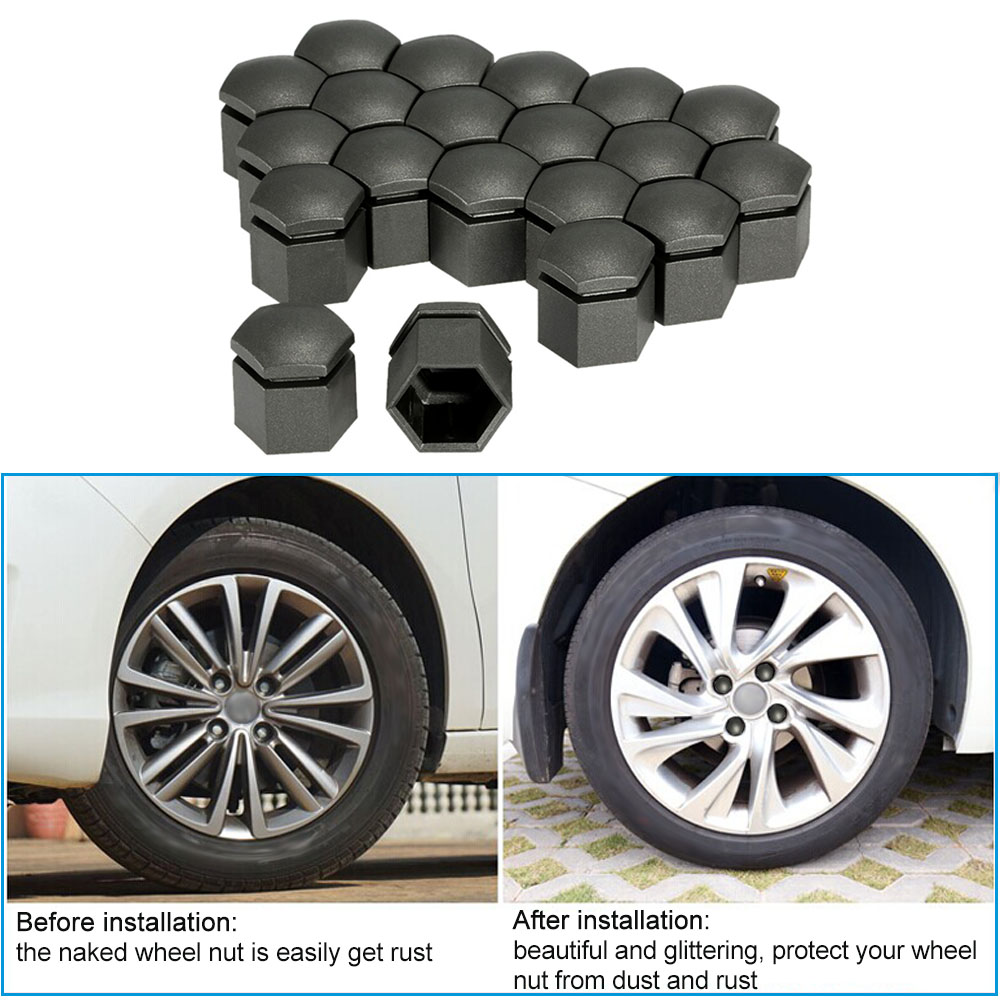 20 SPARE GREY WHEEL NUT CAPS BOLT COVER 17mm NON RUST ABS REMOVABLE TOOL