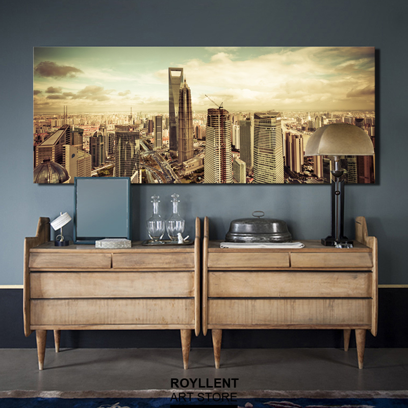 New York City Picture Canvas Painting Modern Wall Art: Large Art New York City Style Modern Landscape Photo