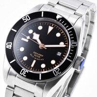 Relogio masculino 41 мм сапфировое стекло черный стерильный циферблат нержавеющая сталь браслет Японии Miyota 8215 автоматическая для мужчин часы