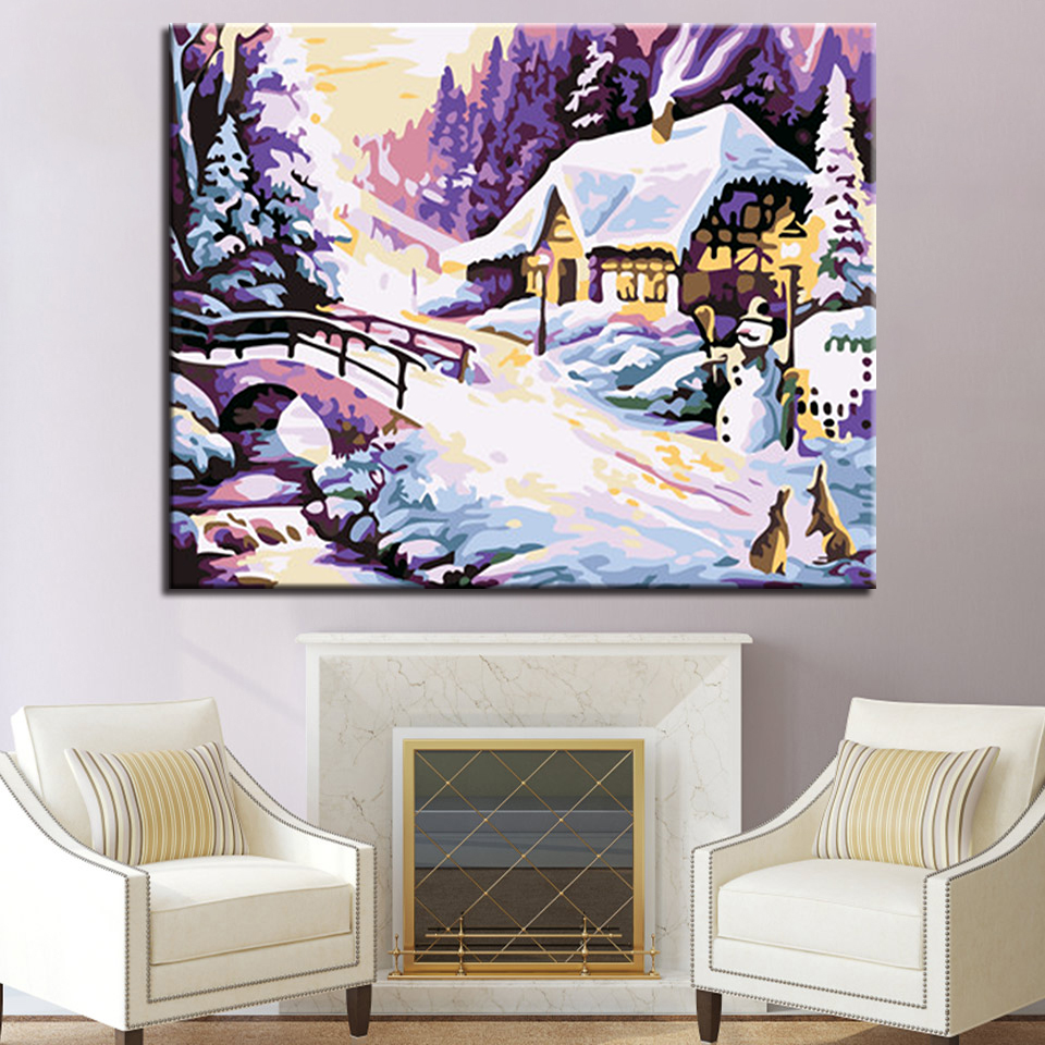 The Forest Winter Snow House And Bridge Picture By Numbers DIY Painting Kits Hand painted On Linen Canvas Home Decor Unique Gift