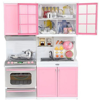 Mini Doll Pink Kitchen Set Furniture Dollhouse Miniature For Kids Child  Play Toy Educational Toy Baby
