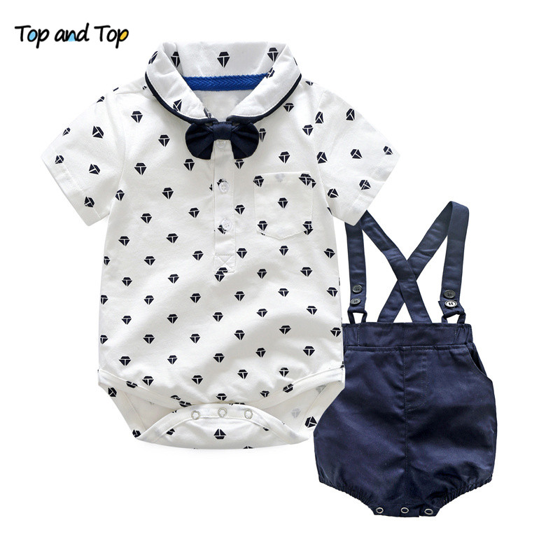 Top and Top Summer Toddler Boy Clothes Gentleman Boy Clothing Set Bow Tie Romper Top+Straps Shorts Boys Wedding Party Clothes chiffon top tie neck ruffle top