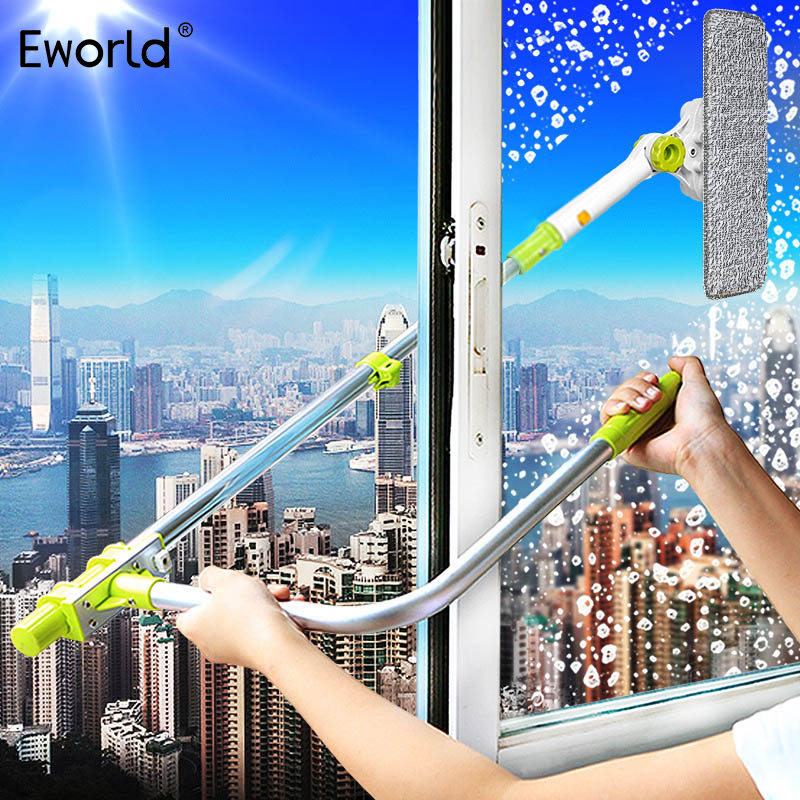 Eworld Hot Upgraded Telescopic High-rise Window Cleaning Glass Cleaner Spazzola per lavare la finestra Spazzola per la polvere Pulire Windows Hobot