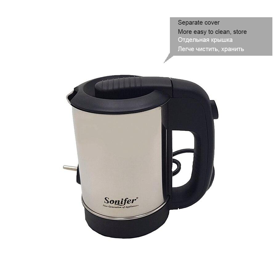 0.5L мини электрический чайник из нержавеющей стали 1000 Вт Портативный путешествия бойлер Sonifer