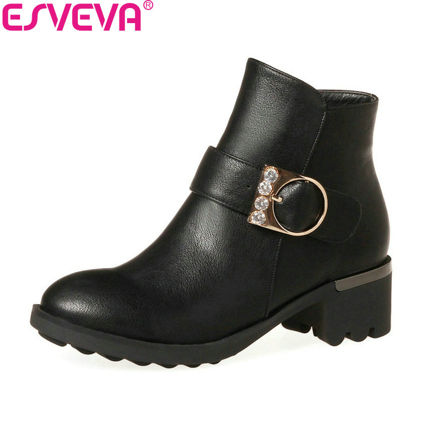 ESVEVA 2018 Women Boots Round Toe Autumn Shoes Classical Square Heel Ankle Boots Western Style Med Heel Ladies Boots Size 34-43 esveva 2016 metal color punk autumn shoes women square high heel ankle boots round toe ladies platform fashion boots size 34 43