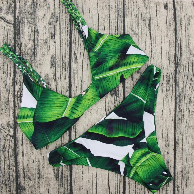 452f9319c2 Detail Feedback Questions about 2018 Retro Swimsuit Women Swimwear palm  leaf print Bikini Bathing Suit Bandage Brazilian Beachwear bikini short  Plus Size ...