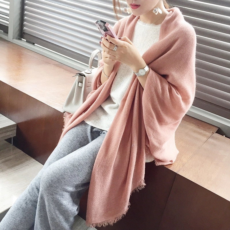 Color imitation cashmere scarf female winter Korean version of autumn and winter wild students super thick