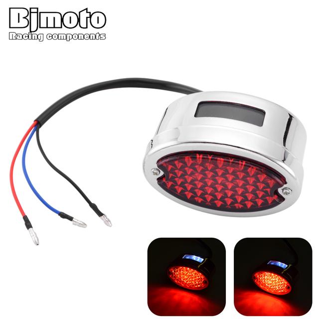 Bjmoto universal Retro Custom Motorcycle Cafe Racer LED Taillight Rear Tail Brake Stop Light Motorbike Brake running tail lamp