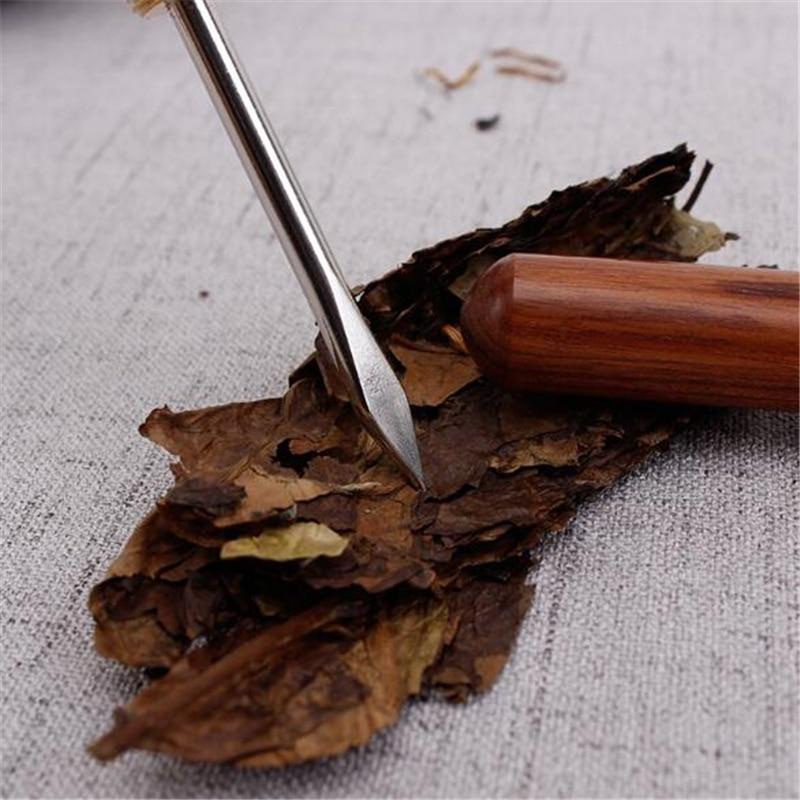 Sandalwood Stainless Steel Tea Knife Tea Accessories Chinese Kung Fu Teasets Spiral Tea Knife Pu Er Dedicated Tea Needle