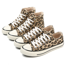 Winter Leopard Ankle Boots Women Plush Lining Lace-Up Canvas Shoes Woman Casual High-Top Shoes 2018 Fashion Sneakers Women Boots