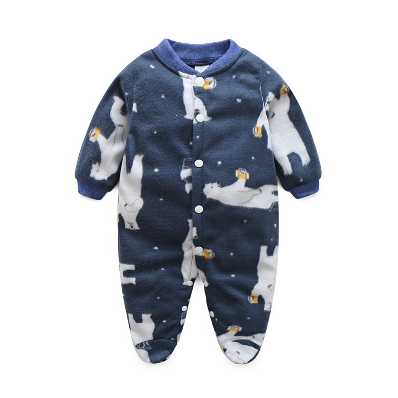 Unisex Baby Rompers Polar Fleece Newborn Baby Clothes Long Sleeve Striped Cartoon Infant Jumpsuit Toddler Kids Christmas Costume 2017 new fashion cute rompers toddlers unisex baby clothes newborn baby overalls ropa bebes pajamas kids toddler clothes sr133