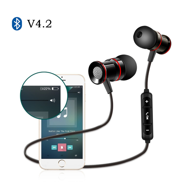 With Microphone Earbuds For Earpods Airpods Bluetooth 4.2 Earphone Sport Running Headphone Wireless Headset