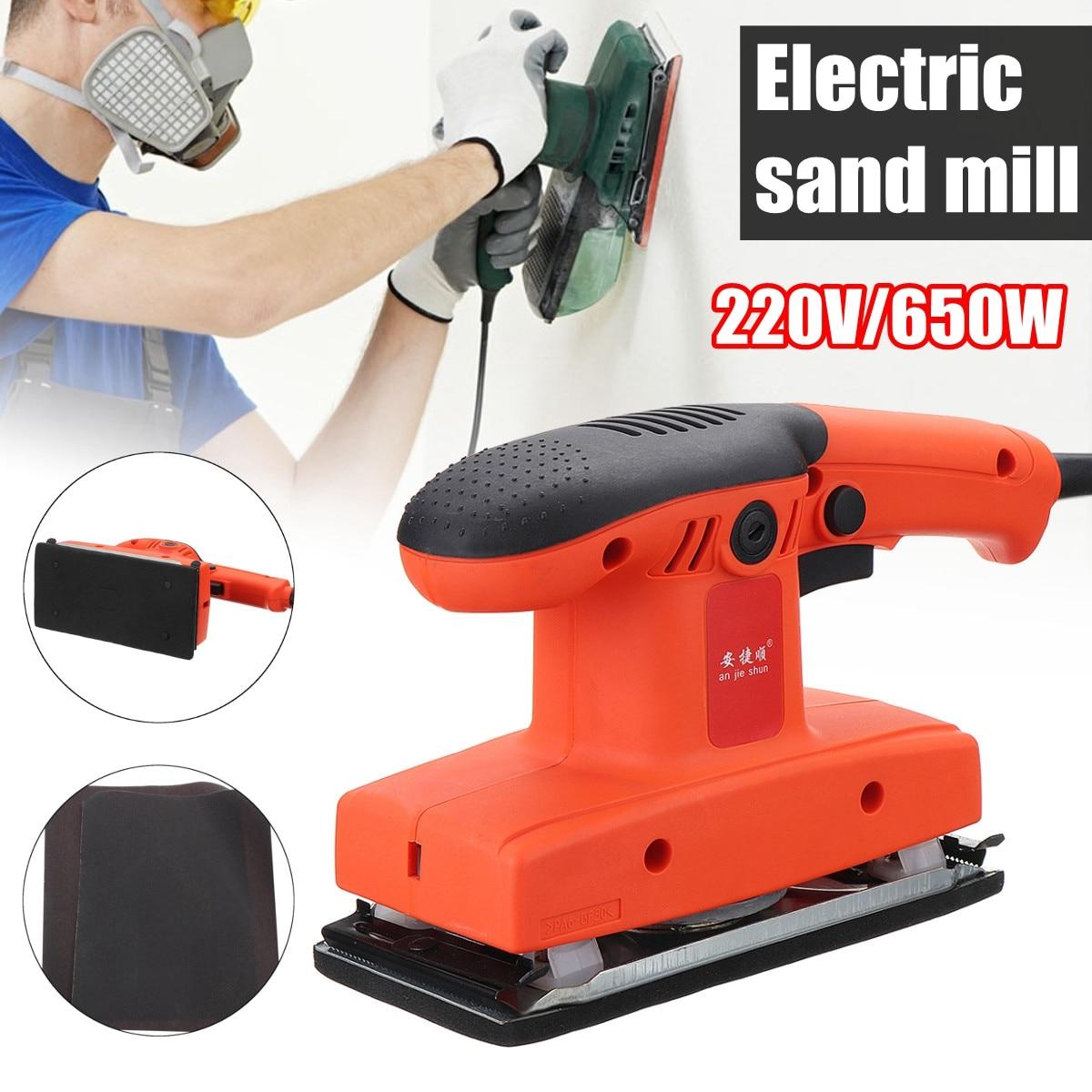 цена на 650W 12000rpm/min Electric Sand Mill Plane Grinding Machine Electric Grinder Detail P alm Sander Orbital Polishing Sanding+ Pad