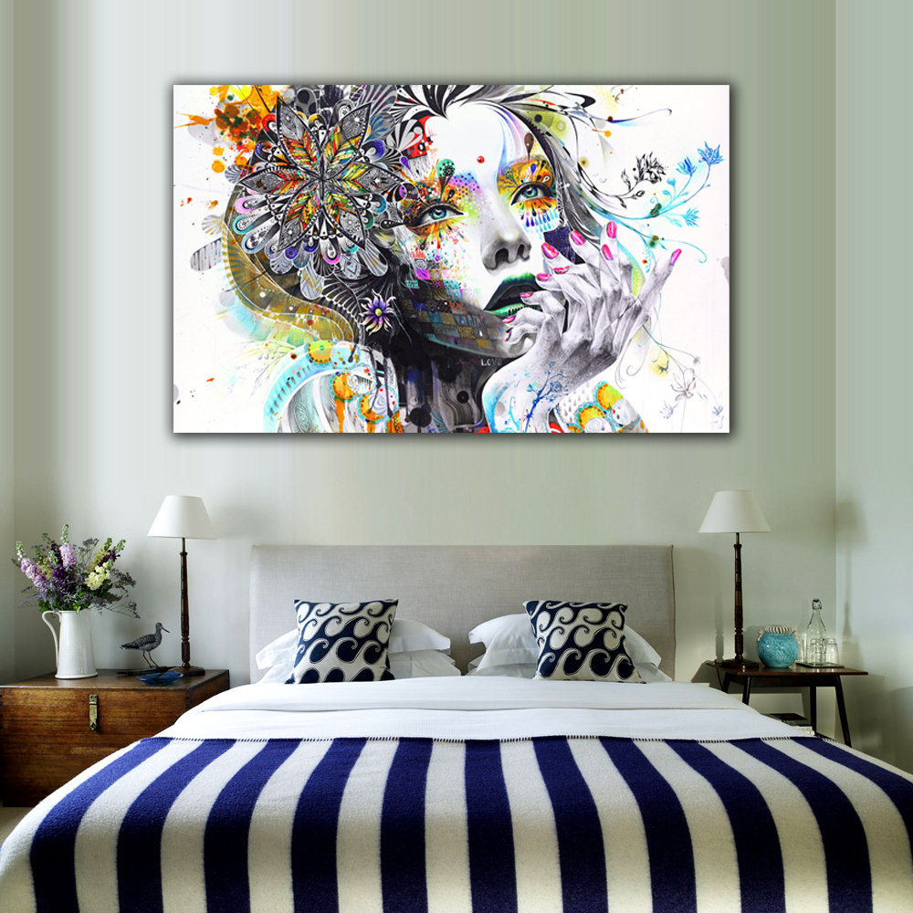 1 piece modern wall art girl with flowers unframed canvas for Bedroom wall art