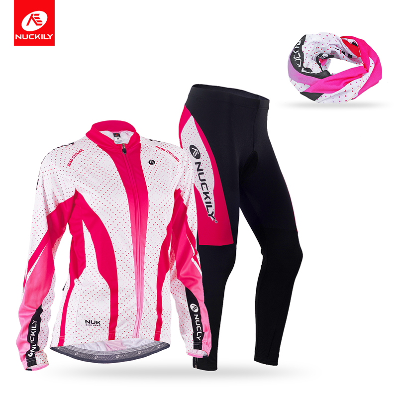 Nuckily Spring/Autumn Cycling Jersey Sets Full Zipper Bicycle Clothes Riding Outdoor Sportwear with head scarf GC003GD003+PG99