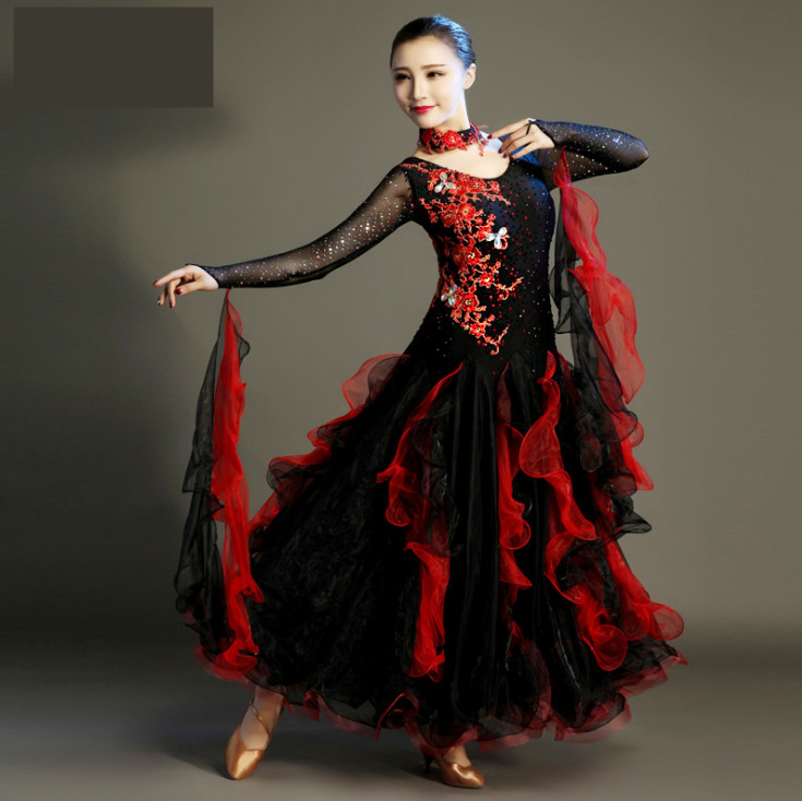 2017 Ballroom Dance Skirts Women Lycra Newest Design Woman Modern Waltz Tango Dance Dress/standard Ballroom Competition Dress