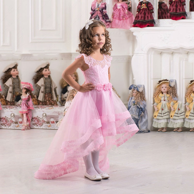 Pink Flower Girl Dresses High Low Lace Appliques with Sash Lace Up Girls Wedding Party Pageant Gowns Custom Made Vestidos Longo цена и фото