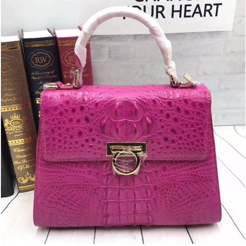 Famous Designer Genuine Crocodile Skin Female Purse Shoulder Bag Exotic Alligator Leather Medium Size Hot Pink