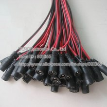 DC female  2.1x5.5 mm feMale 12V DC Power Pigtail for Security Camera CCTV DVR Red + black Color type, 100pcs ,free shipping