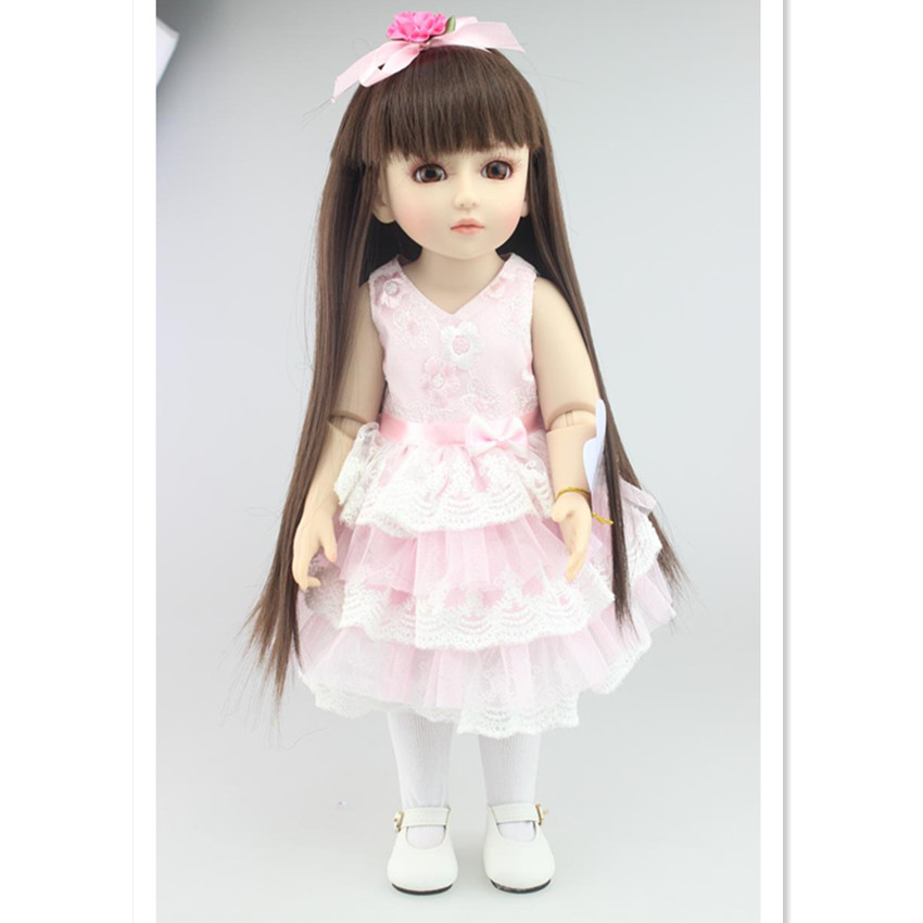 New Style SD/BJD Doll Girls Doll with Pink Dresses,18 Inch Lifelike Princess Doll Toy for Kids Christmas Gift