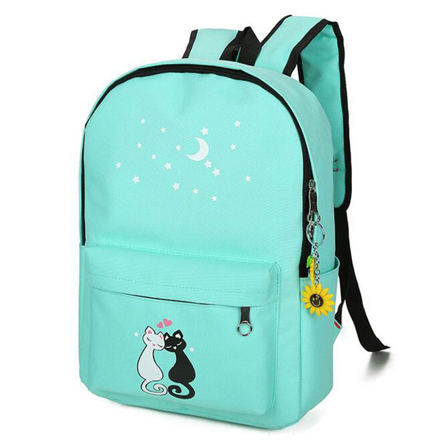4ks/SET Plátenný batoh DVE MAČKY 6farieb Backpack LOVELY CARTOON CAT