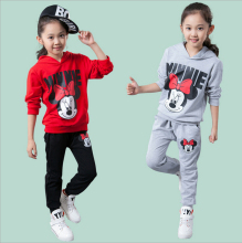 New Hot Sale Children Mickey Two-piece Set Boys Girls Minnie Long-sleeved Sports Suit Baby Hoodies Kids Clothing Q13