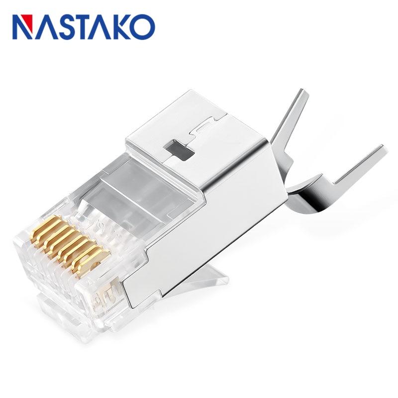 NASTAKO 100 pièces Cat7 RJ45 connecteur Cat 7 connecteurs cristal blindé FTP RJ45 fiches modulaires 1.5mm câble réseau Ethernet - 2