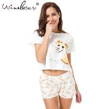 Corgi Pajamas Women Cute Dog Print Crop Top + Shorts 2 Pieces Set Cotton Pajamas Loose Elastic Waist Lounge pyjamas S61004
