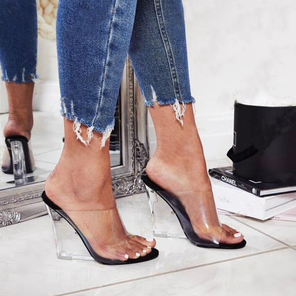 FINDHER Mules pour femmes 2019 Transparent Wedge chaussures à talons hauts femme bout ouvert tenue décontractée sandales fête chaussures de mariage