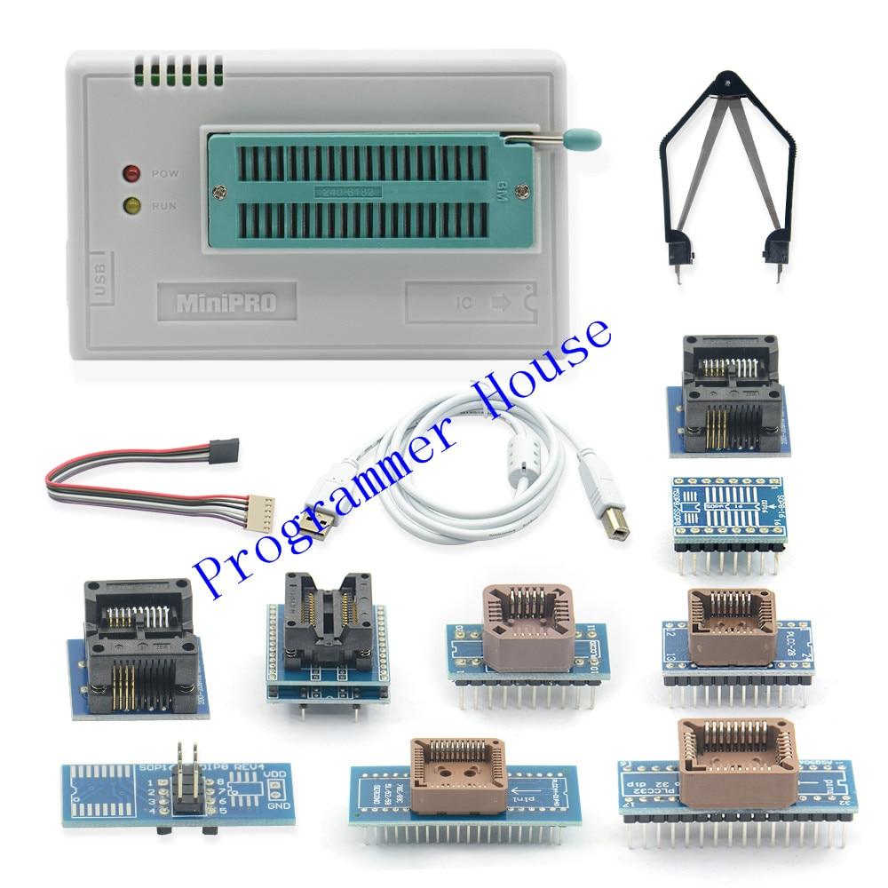 2019 V8 51 minipro TL866II Plus High speed USB Universal Bios programmer 10 items IC Adapters