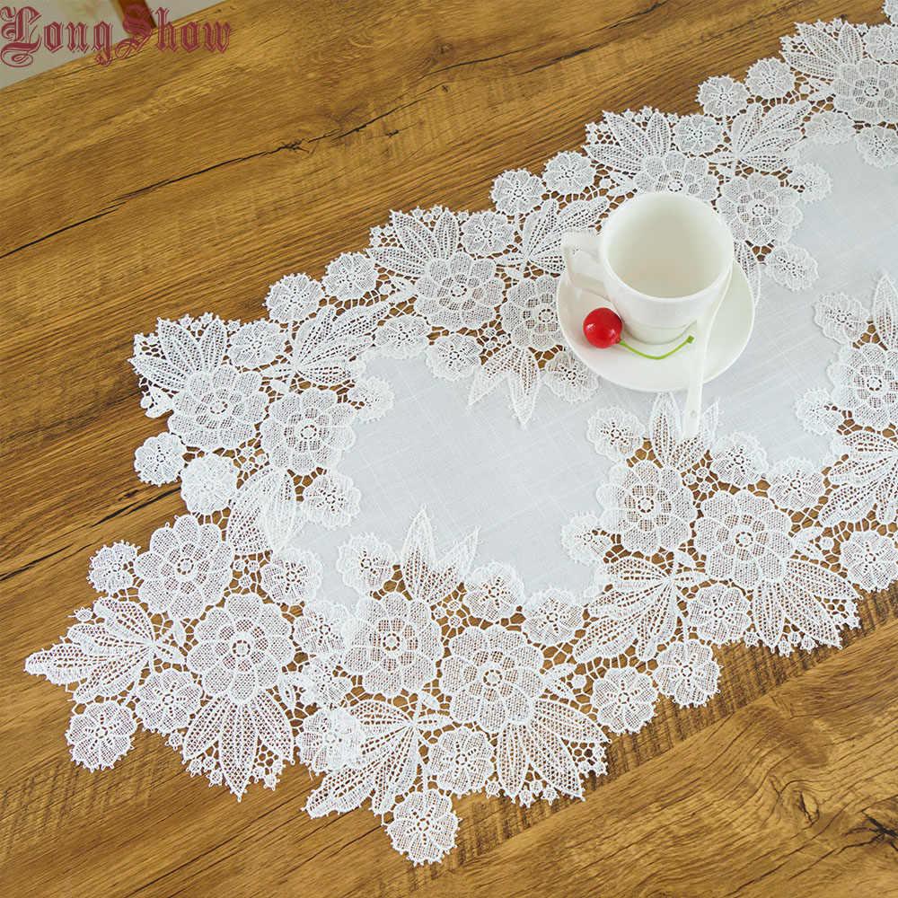 Decoración creativa de lujo para fiesta de boda, encaje bordado blanco de poliéster, lino, camino de mesa, cama, bandera, armario de pie para televisión