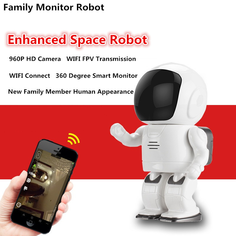 2018 NEW guard against theft ronot camera 360 degree 960P HD WIFI FPV Family Robot Baby Monitor camera Two-way speech intercom