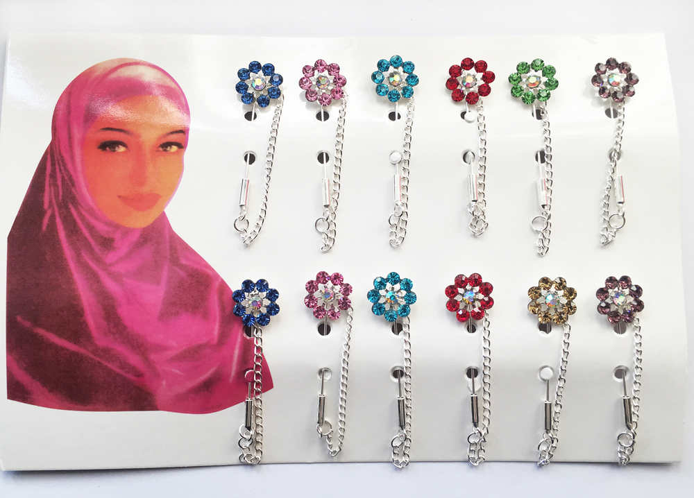 Hijab Pins Brooches 12PCS Flower Crystal Muslim For Women Safety Scarf Pin Silver Pins Mixed Color