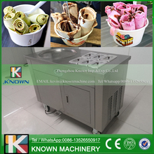 Single circle ice pan with 6 topping tanks of fried ice cream roll machine with R410A Refrigerant (Free shipping by sea)