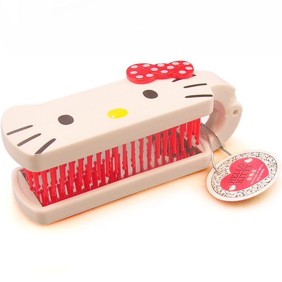 Free shipping 2015 Hot Sale Hello Kitty Folding Comb mirror Woman Healthy hair care combs Travel comb Women's combs makeup tool