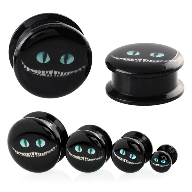 1pair Acrylic Alice In Wonderland Cheshire Cat Cartoon Design Ear Plugs And Tunnels Gauges Earrings