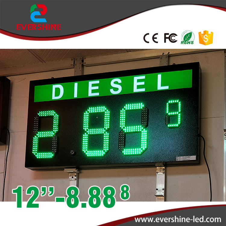 DLESEL 12 Green color led digita numbers module led gas price sign advertising board and led temperature and time display clear acrylic a3a4a5a6 sign display paper card label advertising holders horizontal t stands by magnet sucked on desktop 2pcs
